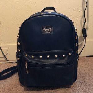 Handbags - Navy Blue Leather Mini Bookbag